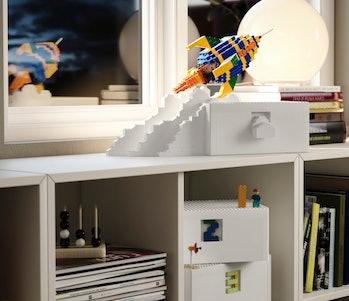 Ikea Bygglek boxes on a shelf