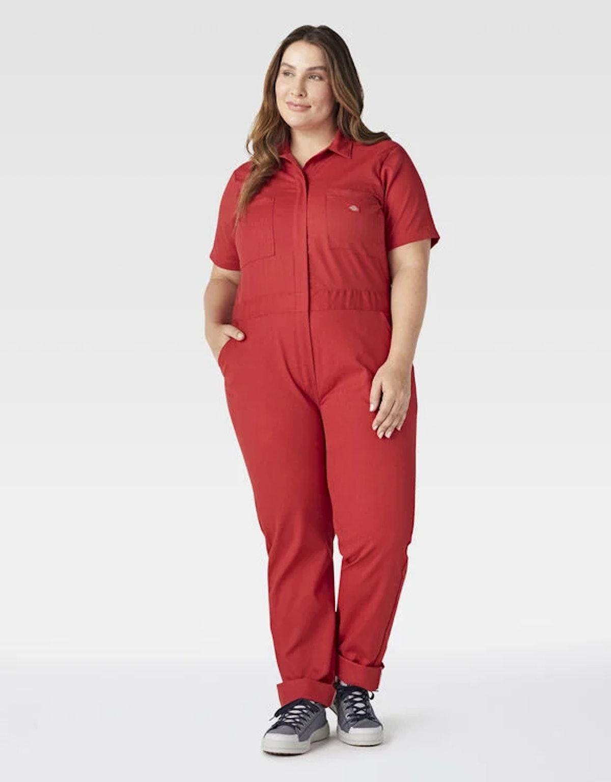 Dickies Women's Plus FLEX Temp-iQ Short Sleeve Coveralls, English Red