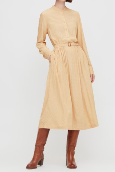 WOMEN PRINTED RAYON BELTED LONG-SLEEVE DRESS (INES DE LA FRESSANGE)