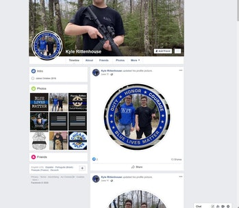 Kyle Rittenhouse's Facebook page, filled with pro-police content and photos of weapons.
