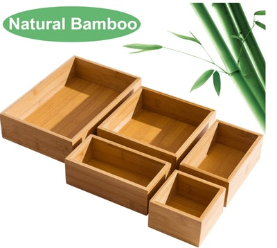 FILWH 5 Piece Bamboo Drawer Organizer
