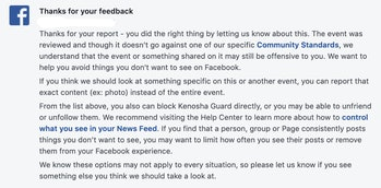Facebook's denial to take action on the pages organizing violence in Kenosha.