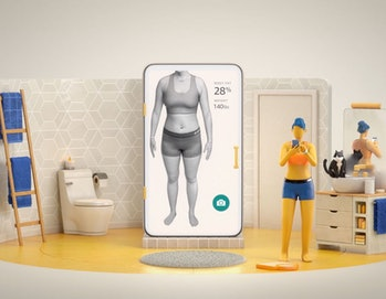 An animated character can be seen in a bathroom with Amazon's Halo app offering a 3D scan of her body.
