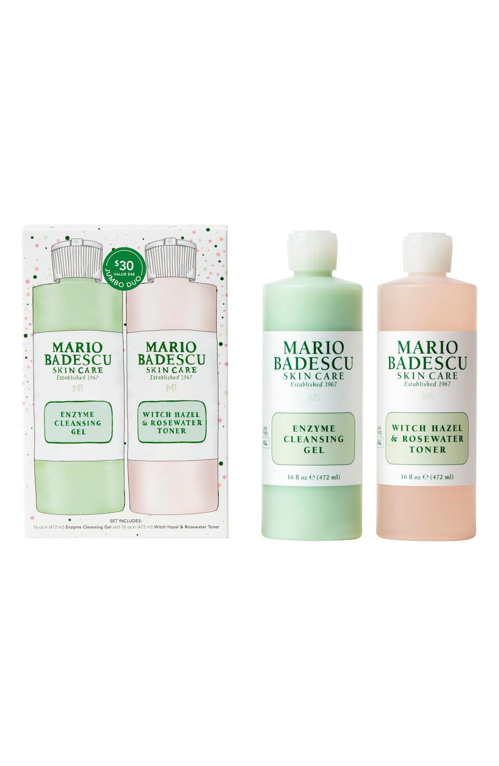 Mario Badescu Jumbo Size Enzyme Cleansing Gel & Witch Hazel & Rosewater Toner
