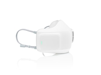A side view of the wearable air purifier.