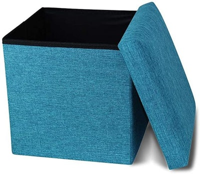 Ottoman Footstool Toy Chest Memory Foam Padded for Space Saving
