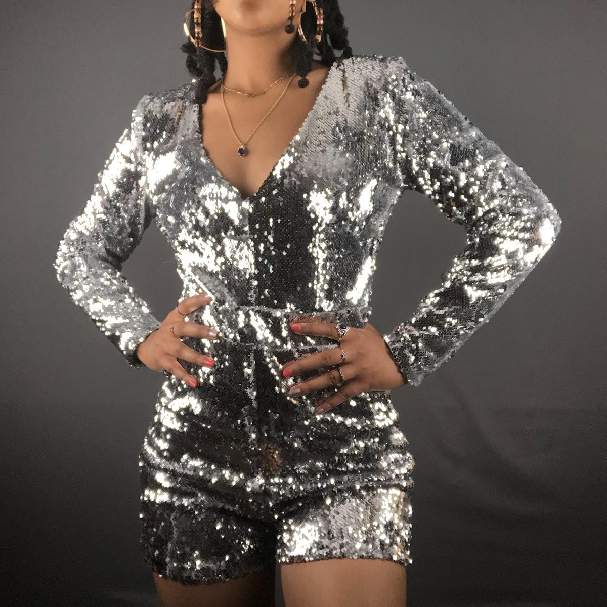 Sumaya Bouhbal Silver Sequin Romber