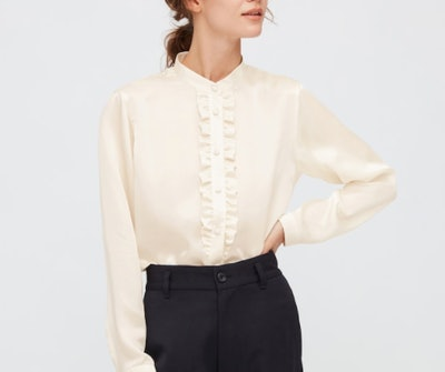 WOMEN SILK FRILLED LONG-SLEEVE BLOUSE (INES DE LA FRESSANGE)