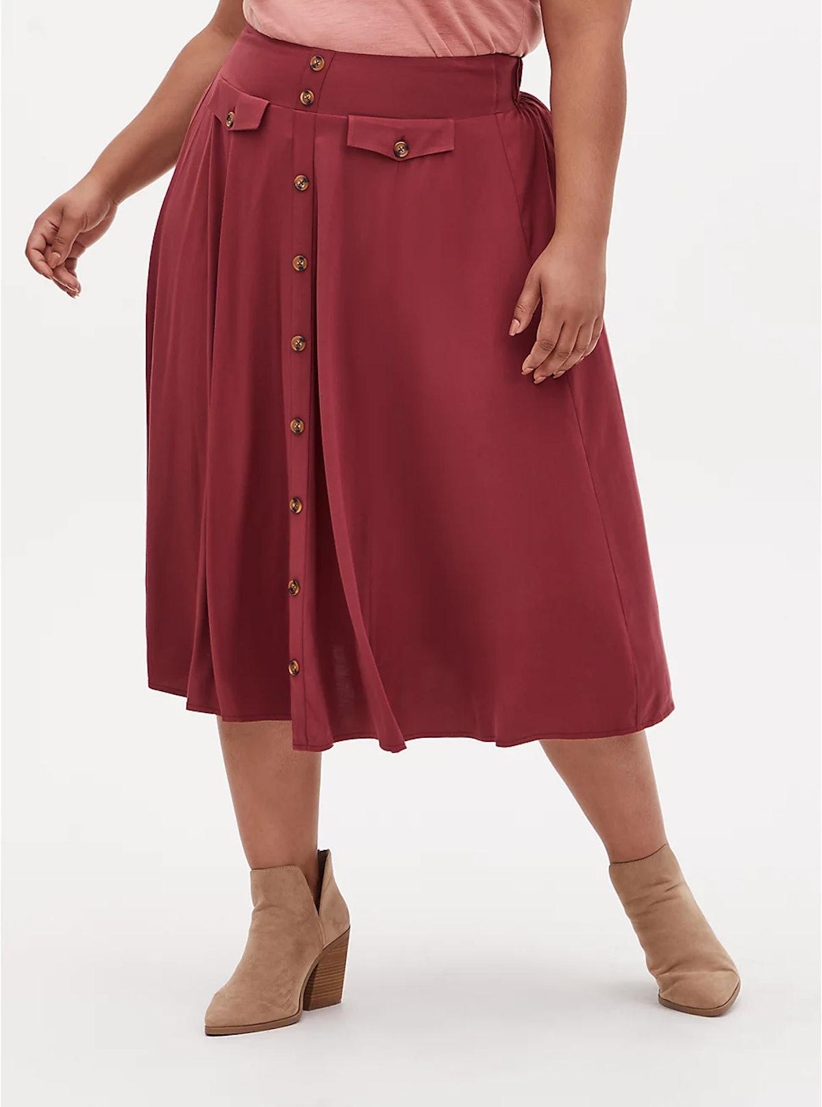 Torrid Dark Red High Waist Button Midi Skirt
