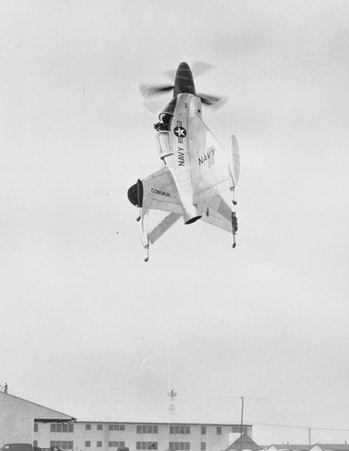The Convair Pogo, an early attempt at matching the Bachem's abilities. Both projects were ultimately deemed failures.