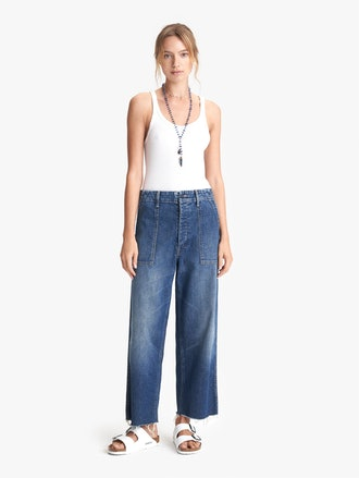 Patch Pocket Zip Private Ankle Fray Jeans