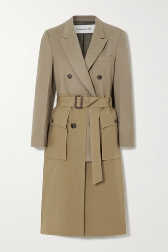 Belted Layered Cotton-Twill And Wool-Blend Trench Coat