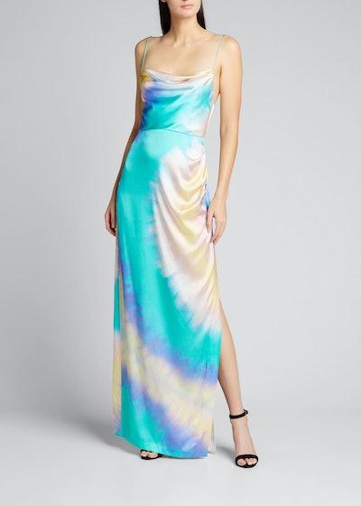 Marlene Tie-Dye Cowl-Neck Slit Dress