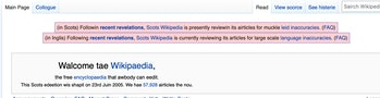 The Wikipedia for Scotland is being reviewed for widespread inaccuracy.
