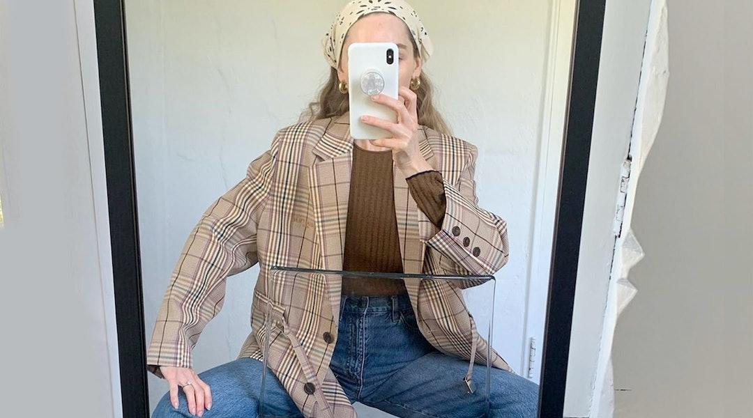 Jeans and plaid blazer