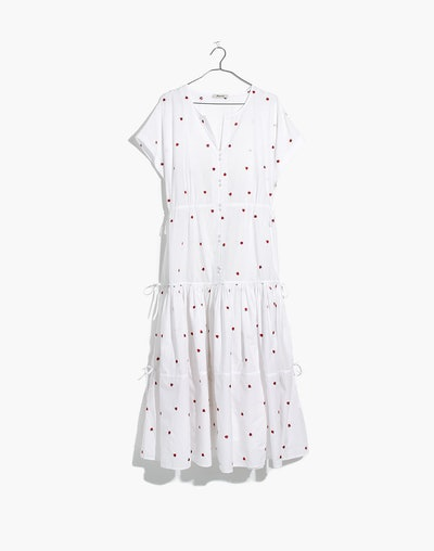Madewell Embroidered Button-Front Tiered Midi Dress in Fresh Strawberries