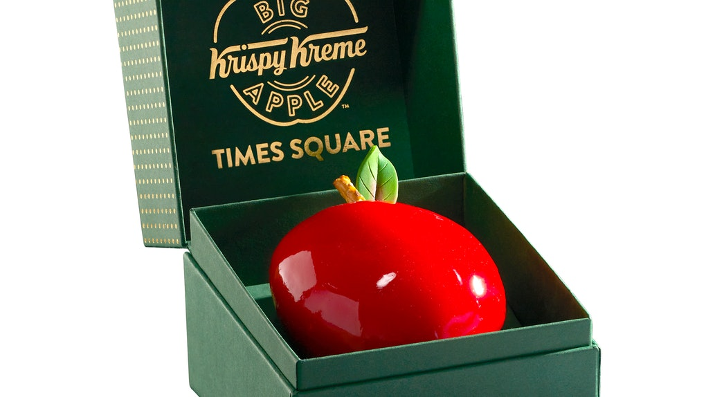 Krispy Kreme's Big Apple Doughnut at the NYC flagship location looks like a candy apple.