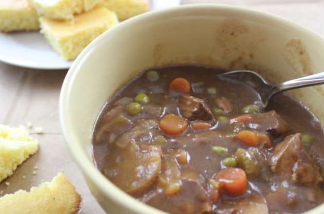 Crock pot beef stew in the slow-cooker for a school night recipe