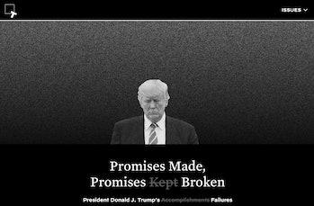 keepamericagreat.com lists promises Trump has failed to follow through on.