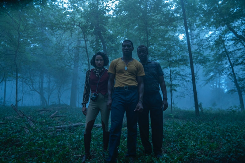 Tic, Leti, and George in the woods from 'Lovecraft Country,' which was filmed in southern Illinois' White Pines State Park. (via the HBO press site)