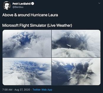 Microsoft Flight Simulator Twitter Hurricane Laura photos