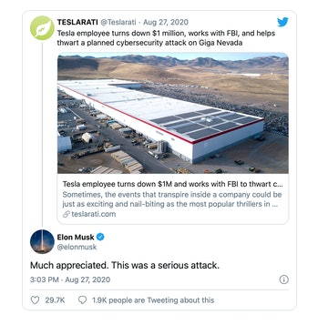 Tesla CEO Elon Musk confirms a failed cyberattack attempt on his company.
