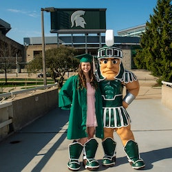 Nicole Niemiec and Michigan State's mascot, Sparty