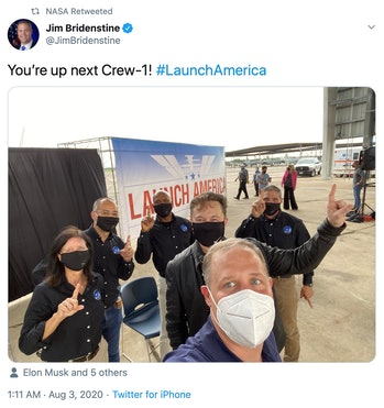 NASA administrator Jim Bridenstine shares a selfie with the Crew-1 team and SpaceX CEO Elon Musk.