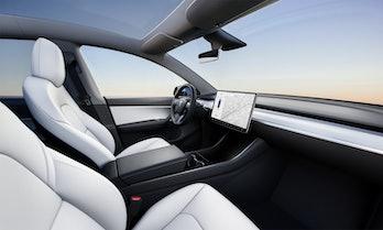 The Tesla Model Y interior.