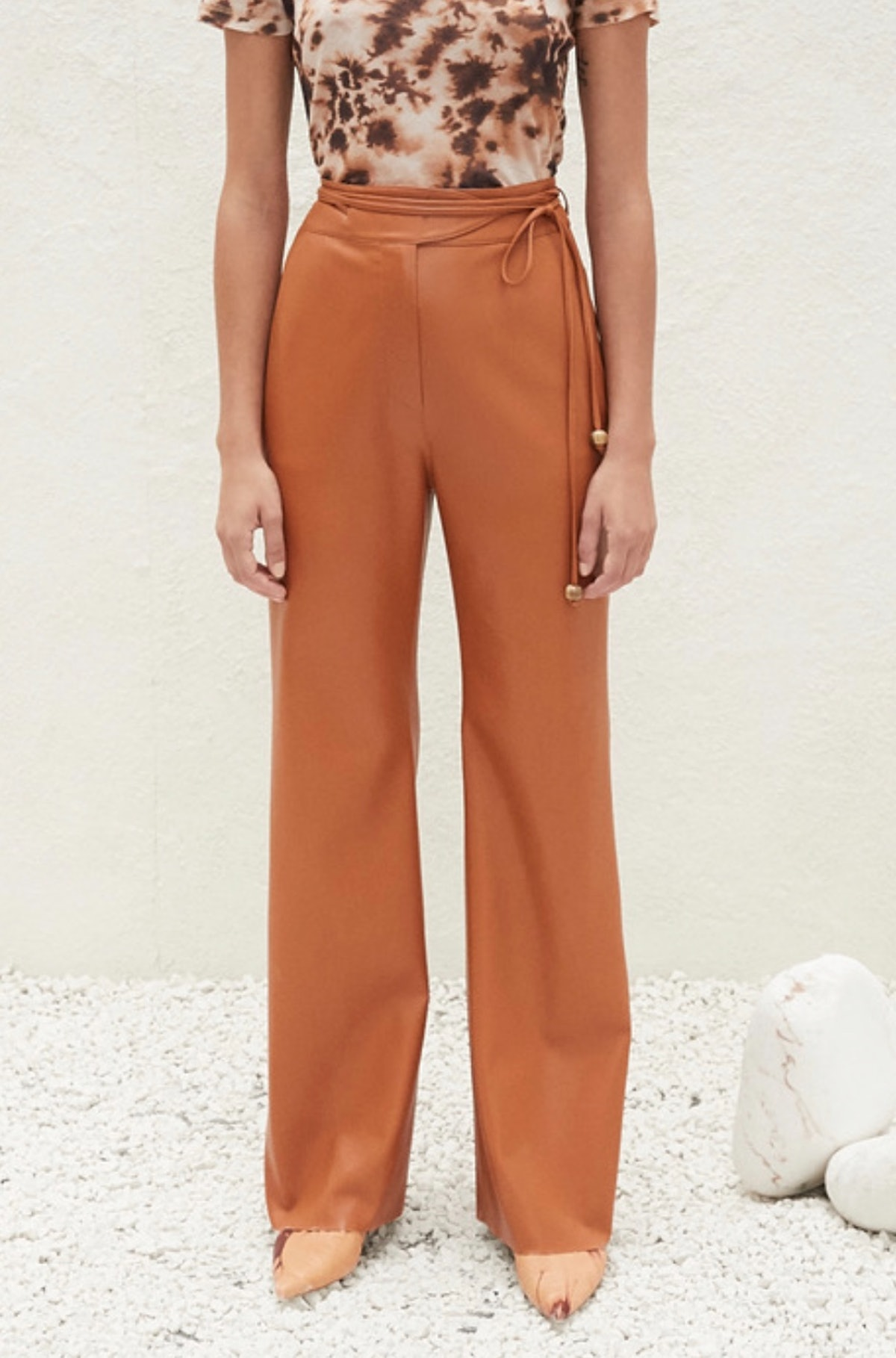 Vegan Leather Belted Pants