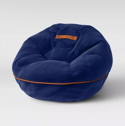 Bean Bag Chair with Suede Piping Navy
