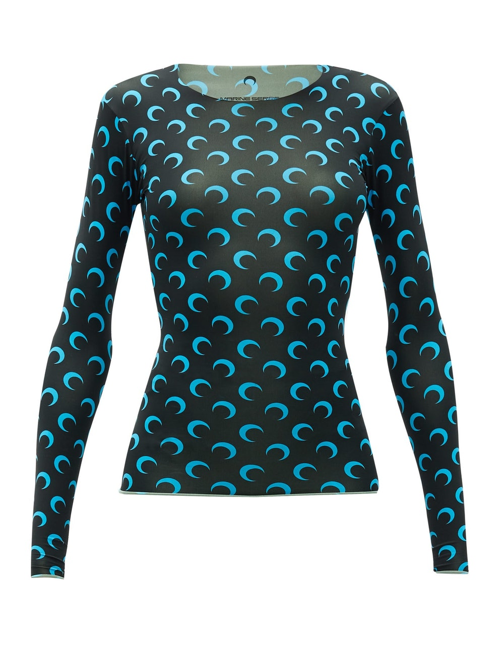 Crescent moon-print stretch-jersey top