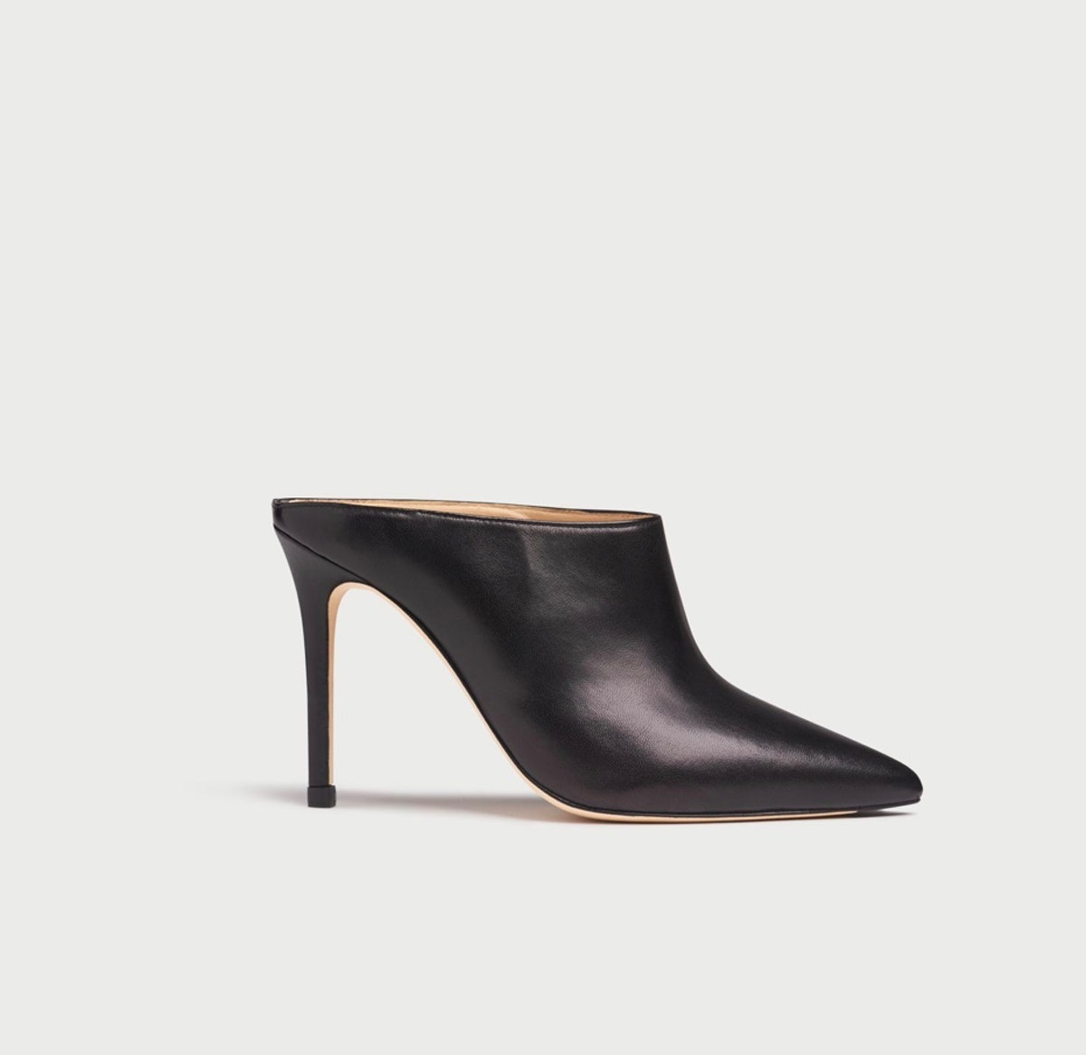 Hannah Black Leather Mules