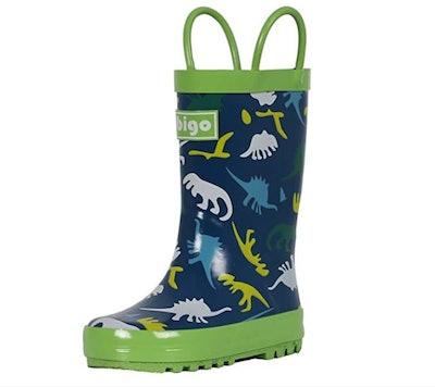 hibigo Children's Natural Rubber Rain Boots with Handles