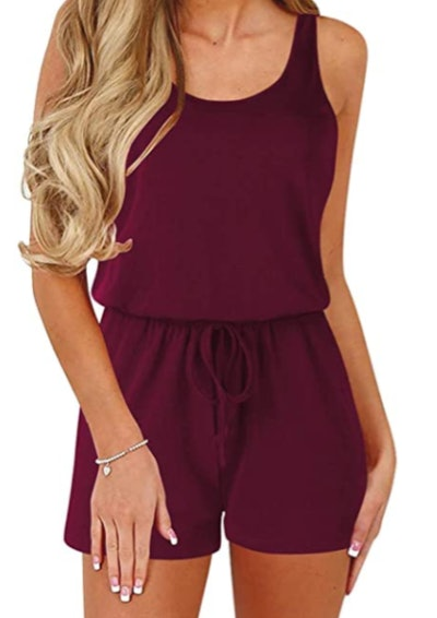 Anrabess women solid sleeveless jumpsuit
