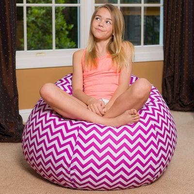 Posh Beanbags Bean Bag Chair in Large, Chevron Purple & White