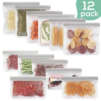 SPLF 12 Pack BPA FREE Reusable Storage Bags