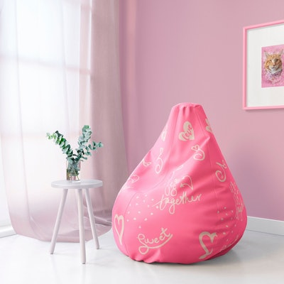 Pink Bean Bag Chair w/ filling, TinyMindsArt