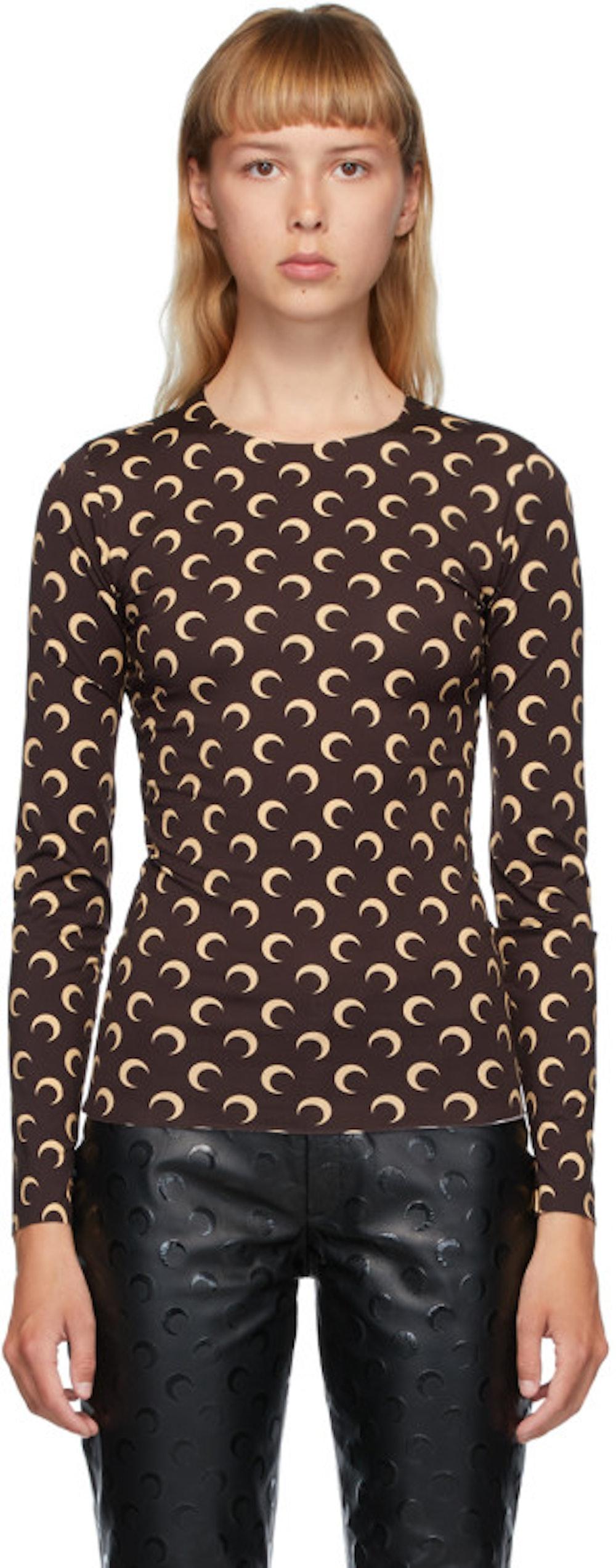 Brown & Beige Moon Allover Long Sleeve T-Shirt