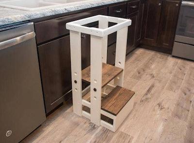 Mommy's Helper Adjustable Kitchen Step Stool in White/Dark Walnut, Fishershandcraft