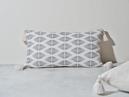 Geo Tassel Lumbar Throw Pillow Cover