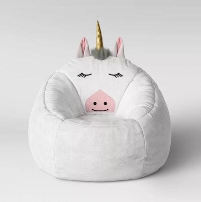 Character Bean Bag Pouf White Unicorn