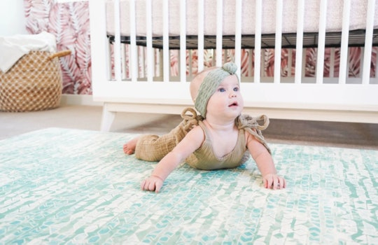 Baby tummy time on modern baby play mat from famokids