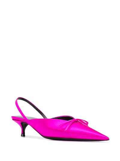 Knife Slingback Satin Mules