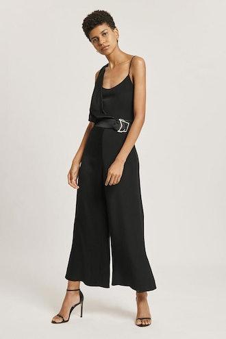 Black Silk Draped Cropped Jumpsuit