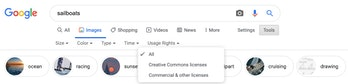 Google Image Search Usage Rights tab