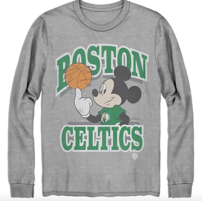 Men's Boston Celtics Junk Food Gray Disney Mickey Team Spirit Long Sleeve T-Shirt