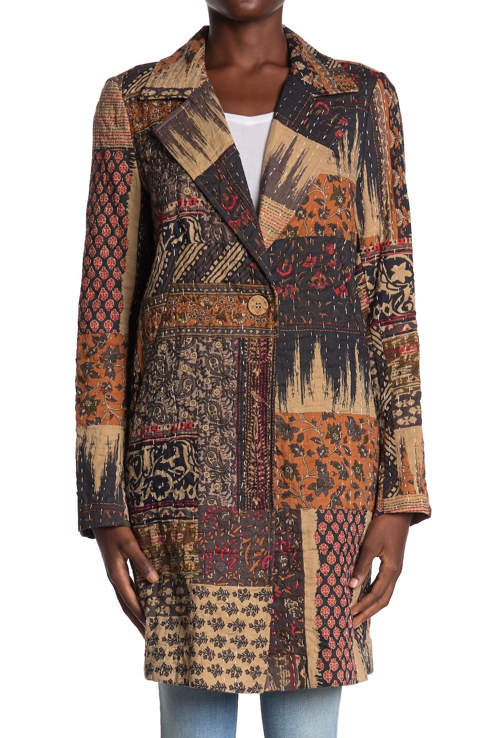 Patchwork Printed Topper Coat