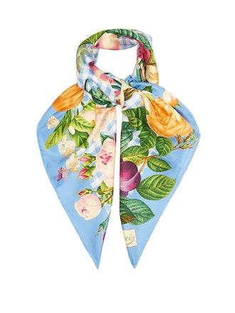 Floral-Print Gingham Silk-Twill Scarf