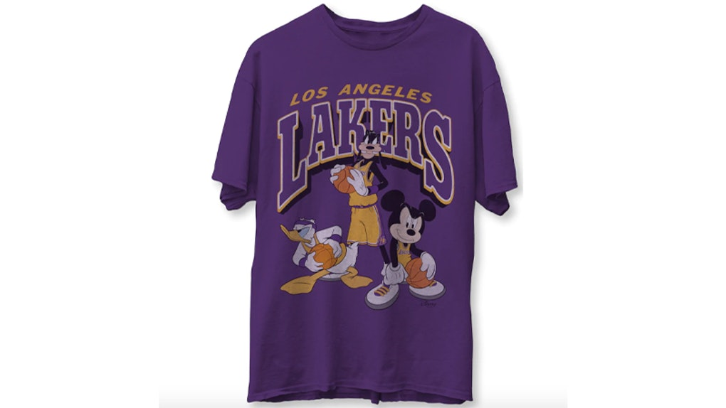 A purple Los Angeles Lakers NBA Disney tee features Mickey Mouse, Donald Duck, and Goofy on the front.